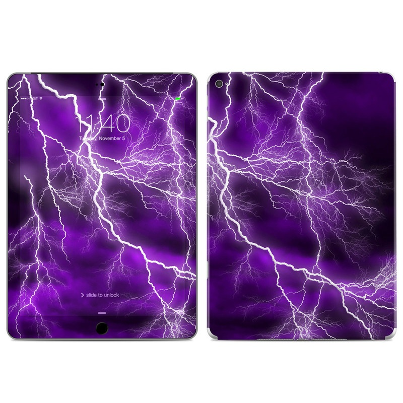 iPad Air 2 Skin design of Thunder, Lightning, Thunderstorm, Sky, Nature, Purple, Violet, Atmosphere, Storm, Electric blue with purple, black, white colors