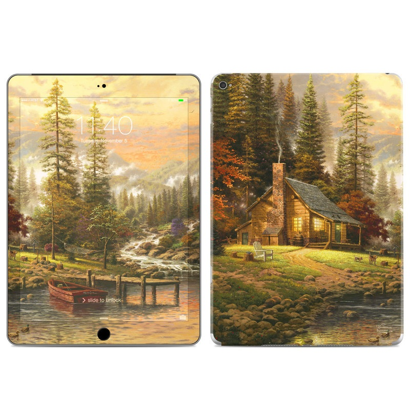 iPad Air 2 Skin design of Natural landscape, Nature, Painting, Tree, Landscape, Morning, Sky, Biome, Sunlight, Forest with orange, red, green, brown colors