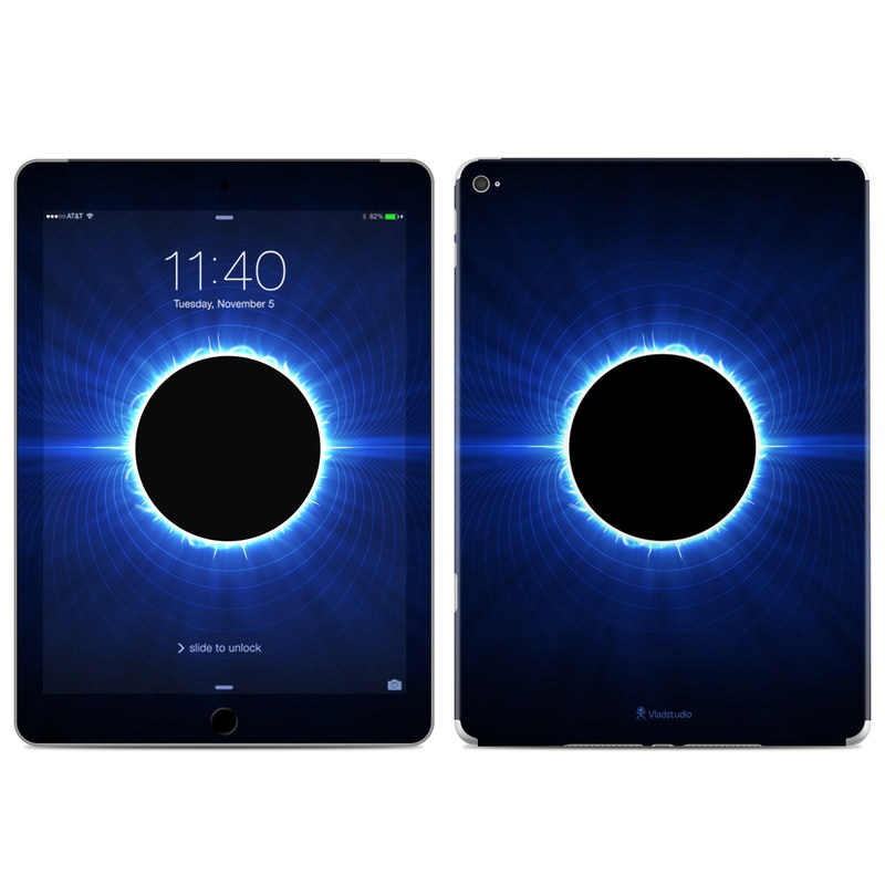 iPad Air 2 Skin design of Atmosphere, Sky, Nature, Light, Blue, Astronomical object, Corona, Celestial event, Daytime, Circle with black, blue colors