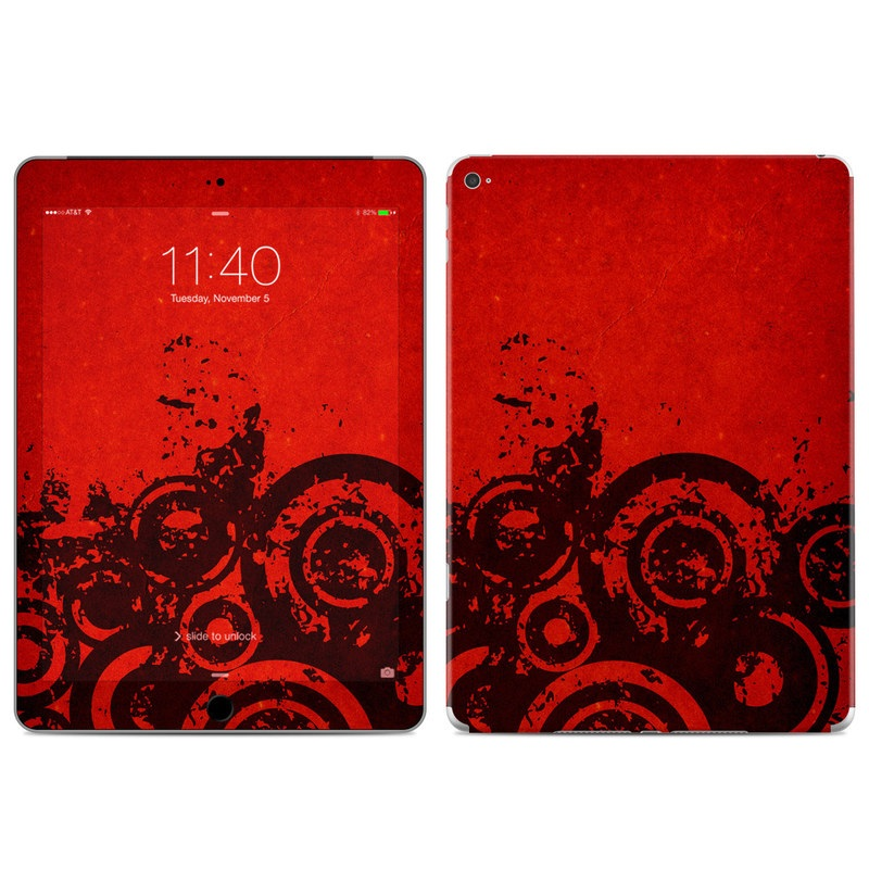 iPad Air 2 Skin design of Red, Circle, Pattern, Design, Visual arts, Font, Graphics, Graphic design, Art, Still life photography with red, black colors