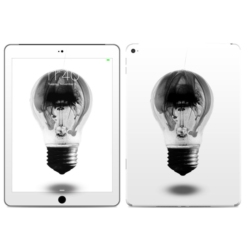 iPad Air 2 Skin design of White, Incandescent light bulb, Light bulb, Lighting, Black-and-white, Monochrome, Illustration, Photography, Drawing, Sketch with white, gray, black colors