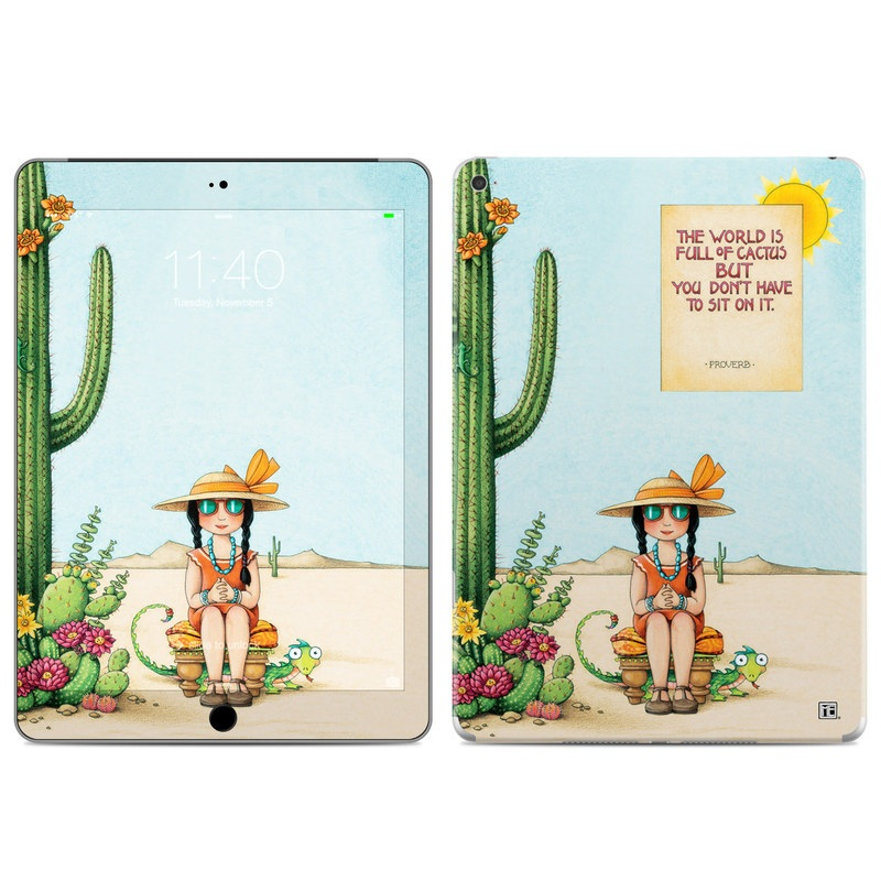 iPad Air 2 Skin design of Cartoon, Cactus, Illustration, Animated cartoon, Plant, Vegetable, Fictional character, Art with green, yellow, pink, orange, brown colors