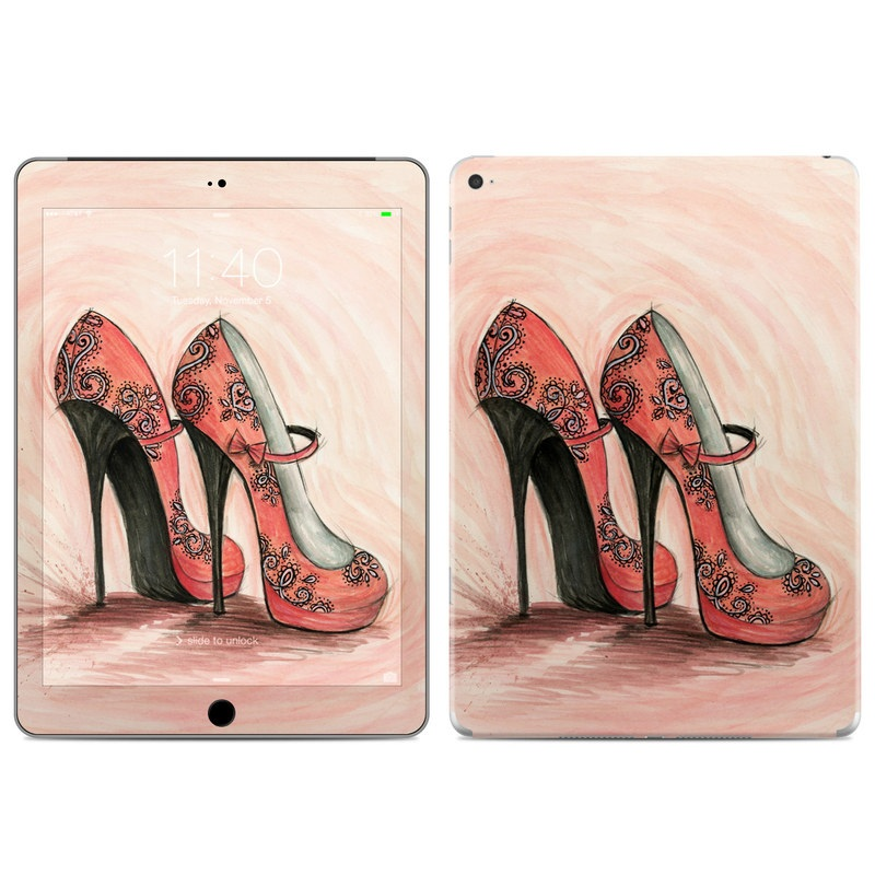 iPad Air 2 Skin design of Footwear, High heels, Shoe, Pink, Court shoe, Illustration, Leg, Basic pump, Peach, Painting with pink, gray, red, white, black, green colors