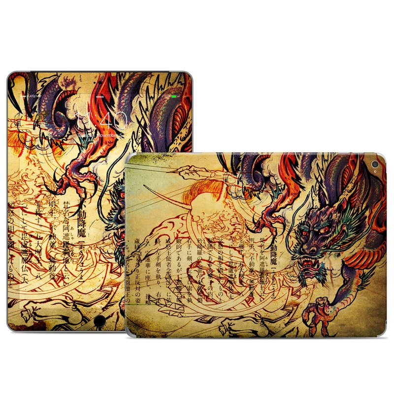 iPad Air 2 Skin design of Illustration, Fictional character, Art, Demon, Drawing, Visual arts, Dragon, Supernatural creature, Mythical creature, Mythology with black, green, red, gray, pink, orange colors