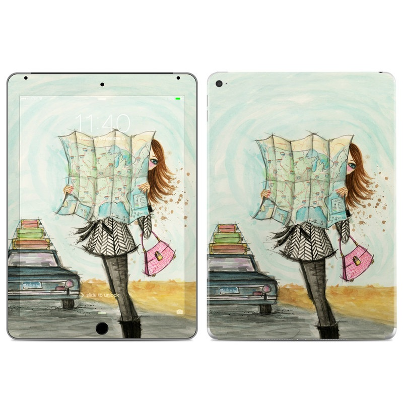 iPad Air 2 Skin design of Fashion illustration, Sketch, Watercolor paint, Illustration, Drawing, Art, Footwear, Vehicle, Painting, Fashion design with blue, black, gray, white, pink, brown, green, orange, yellow colors
