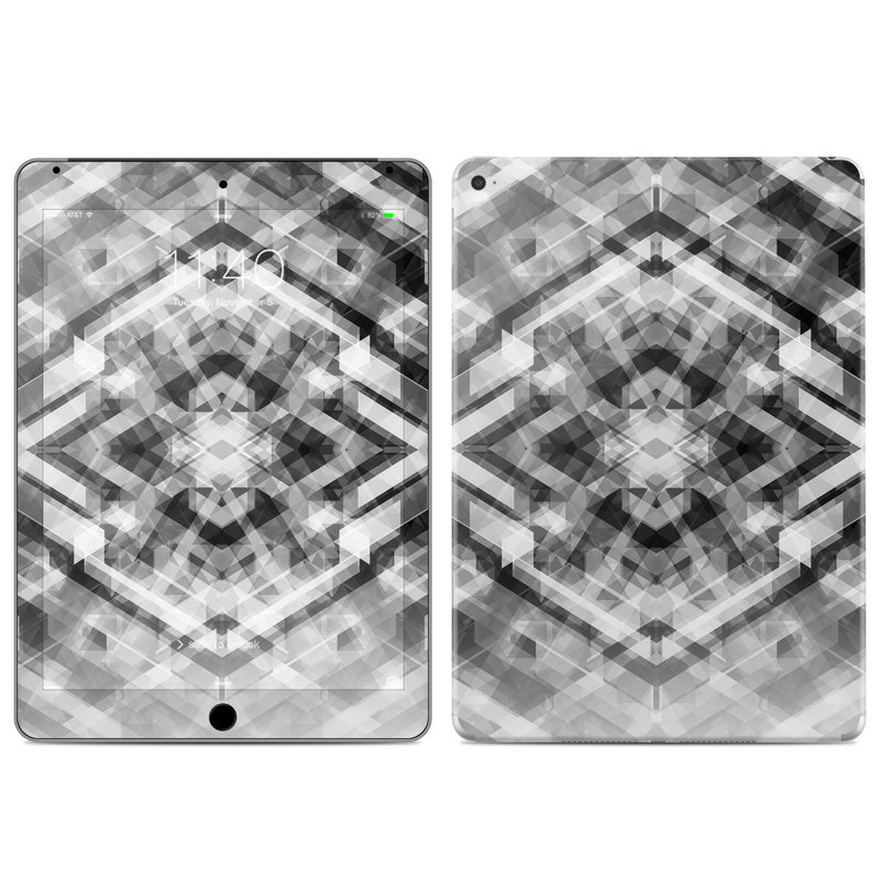 iPad Air 2 Skin design of Black-and-white, Pattern, Monochrome, Symmetry, Monochrome photography, Design, Style, Illustration with black, white, gray colors