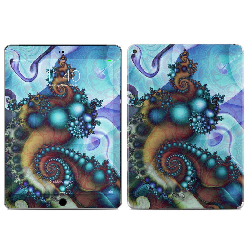 iPad Air 2 Skin design of Fractal art, Art, Seahorse, Cg artwork, Organism, Psychedelic art, Illustration, Syngnathiformes, Fictional character, Graphic design with black, gray, blue, red, green colors