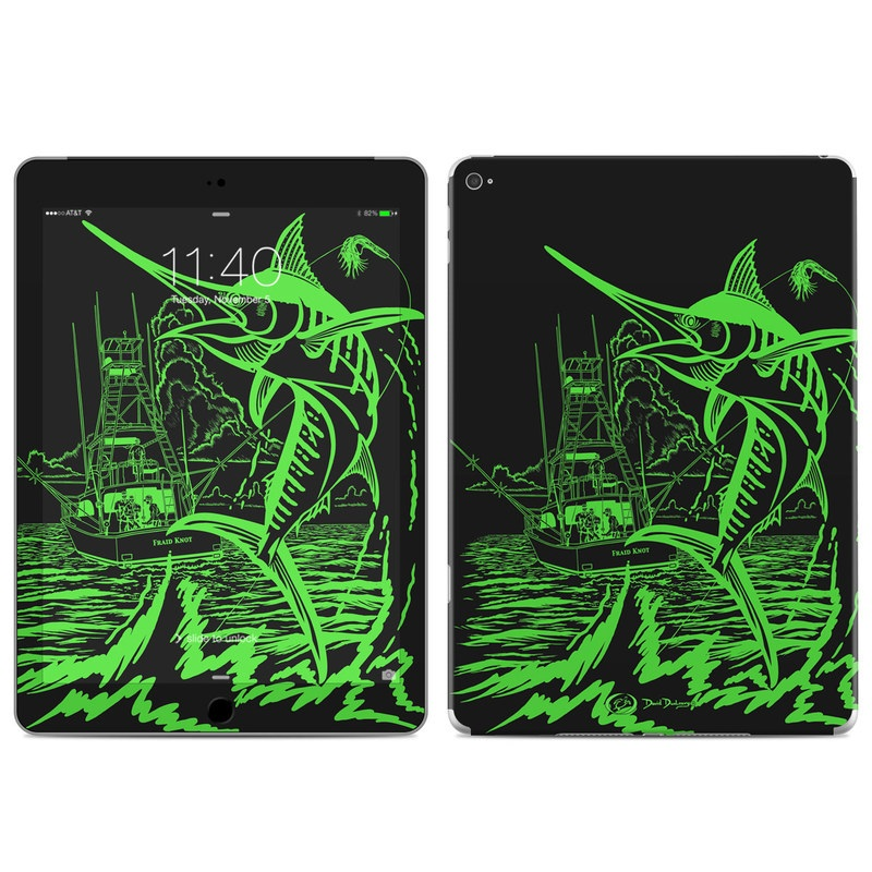 iPad Air 2 Skin design of Illustration, Graphic design, Fish, Fictional character with black, green colors