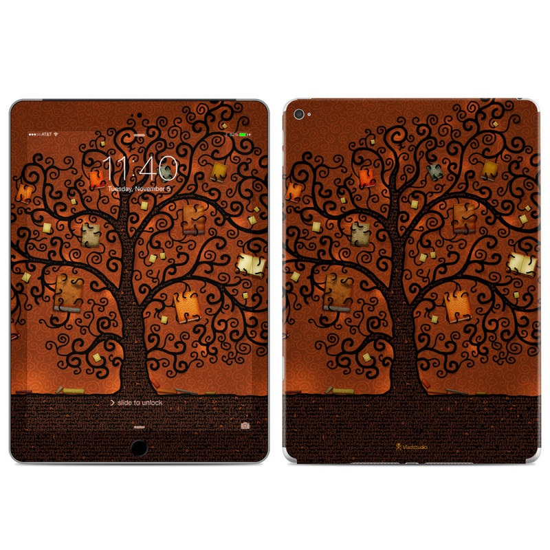 iPad Air 2 Skin design of Tree, Brown, Leaf, Plant, Woody plant, Branch, Visual arts, Font, Pattern, Art with black colors