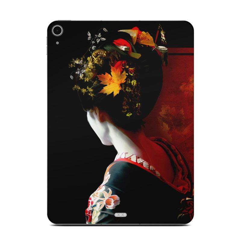 iPad Air Skin design of Geisha, Red, Flower, Plant, Headgear, Photography, Peking opera, Costume, Headpiece, Art with black, red, orange, yellow, white colors
