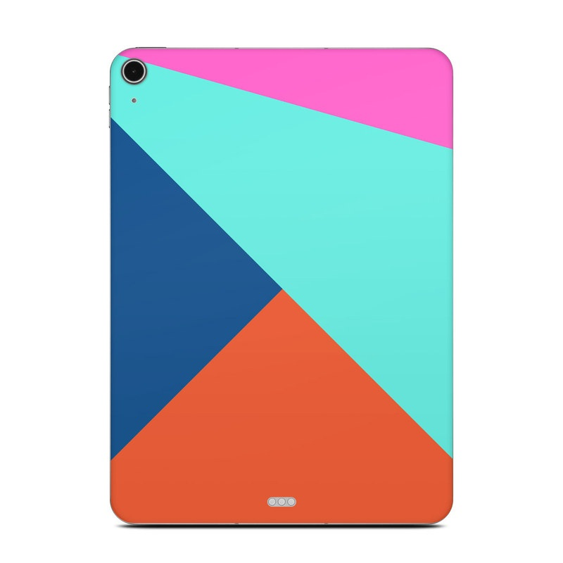 iPad Air Skin design of Blue, Colorfulness, Turquoise, Line, Azure, Triangle, Pattern, Graphic design, Magenta with blue, pink, orange, red colors
