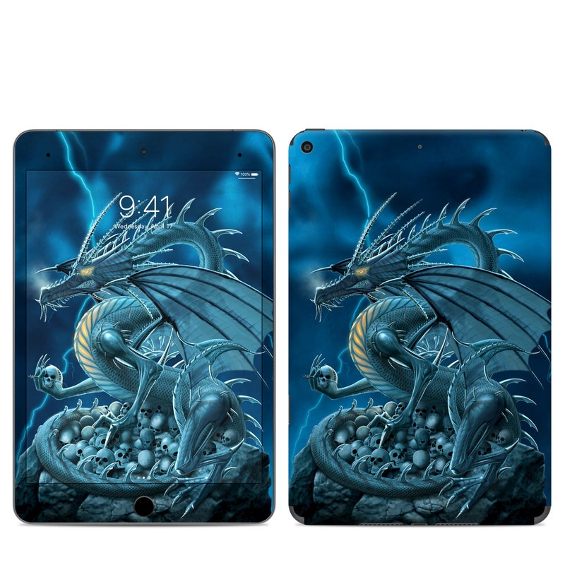 iPad mini Skin design of Cg artwork, Dragon, Mythology, Fictional character, Illustration, Mythical creature, Art, Demon with blue, yellow colors