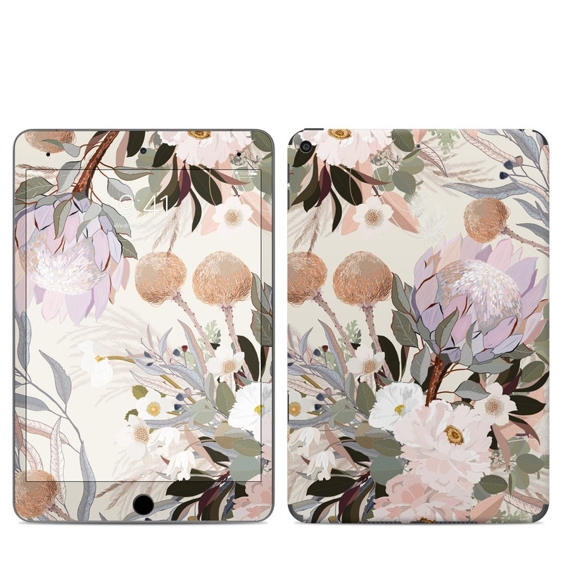 iPad mini Skin design of Flower, Floral design, Watercolor paint, Plant, Spring, Branch, Flower Arranging, Lilac, Floristry, Petal with pink, purple, green, brown, white, yellow, black colors