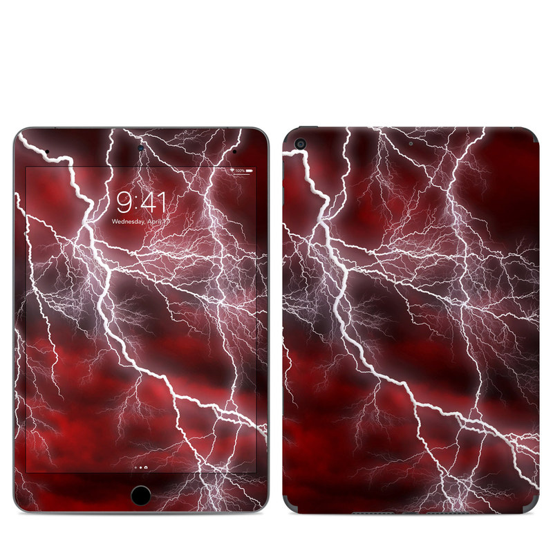 iPad mini Skin design of Thunder, Thunderstorm, Lightning, Red, Nature, Sky, Atmosphere, Geological phenomenon, Lighting, Atmospheric phenomenon with red, black, white colors