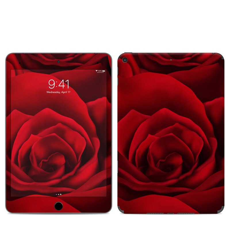iPad mini 5 Skin design of Red, Garden roses, Rose, Petal, Flower, Nature, Floribunda, Rose family, Close-up, Plant with black, red colors