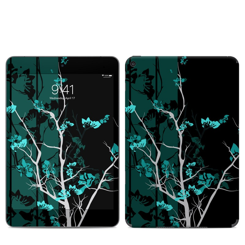 iPad mini 5 Skin design of Branch, Black, Blue, Green, Turquoise, Teal, Tree, Plant, Graphic design, Twig with black, blue, gray colors
