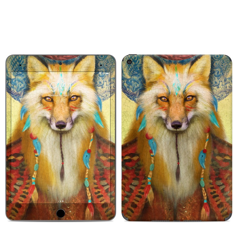 iPad mini 5 Skin design of Red fox, Canidae, Fox, Wildlife, Swift fox, Carnivore, Jackal, Fur, Snout, Art with red, black, gray, green, blue colors