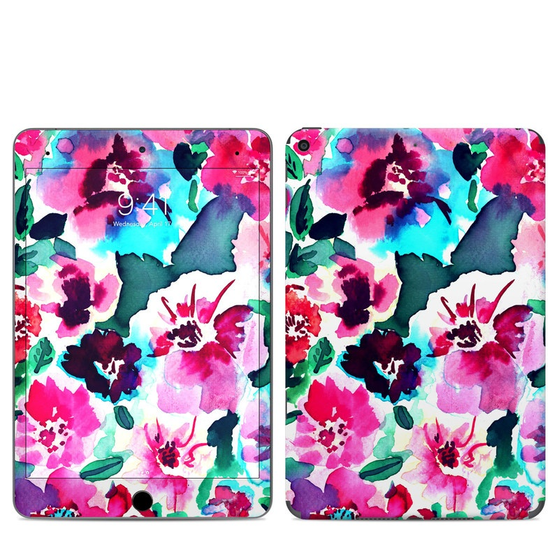 iPad mini Skin design of Flower, Pink, Petal, Plant, Pattern, Hawaiian hibiscus, Design, Magenta, Flowering plant, Watercolor paint with white, pink, blue, green, red colors