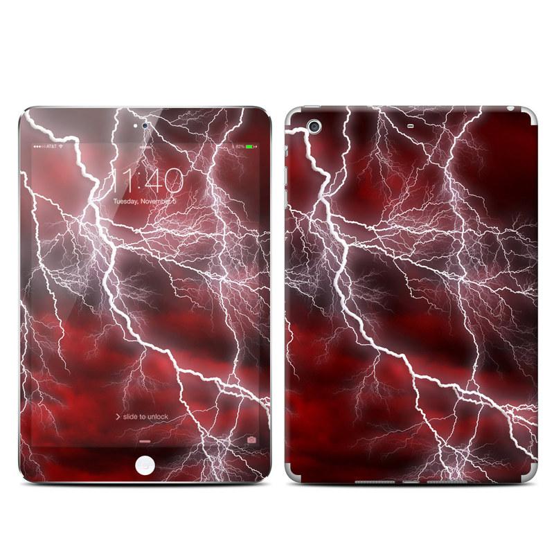 iPad mini 3 Skin design of Thunder, Thunderstorm, Lightning, Red, Nature, Sky, Atmosphere, Geological phenomenon, Lighting, Atmospheric phenomenon with red, black, white colors