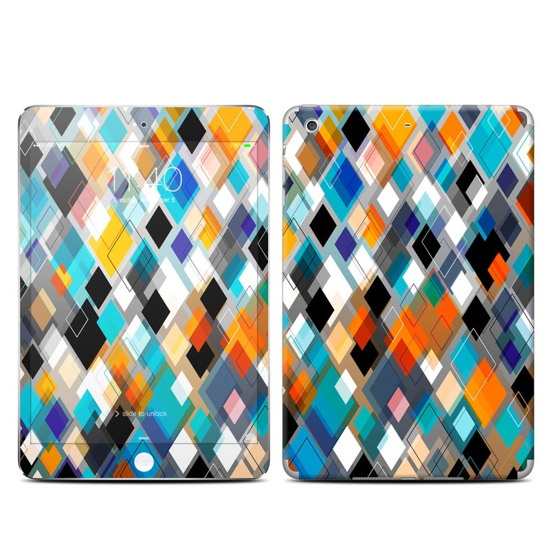 iPad mini 3 Skin design of Pattern, Line, Design, Colorfulness, Plaid, Tints and shades, Textile, Symmetry, Square with black, blue, red, orange, white colors