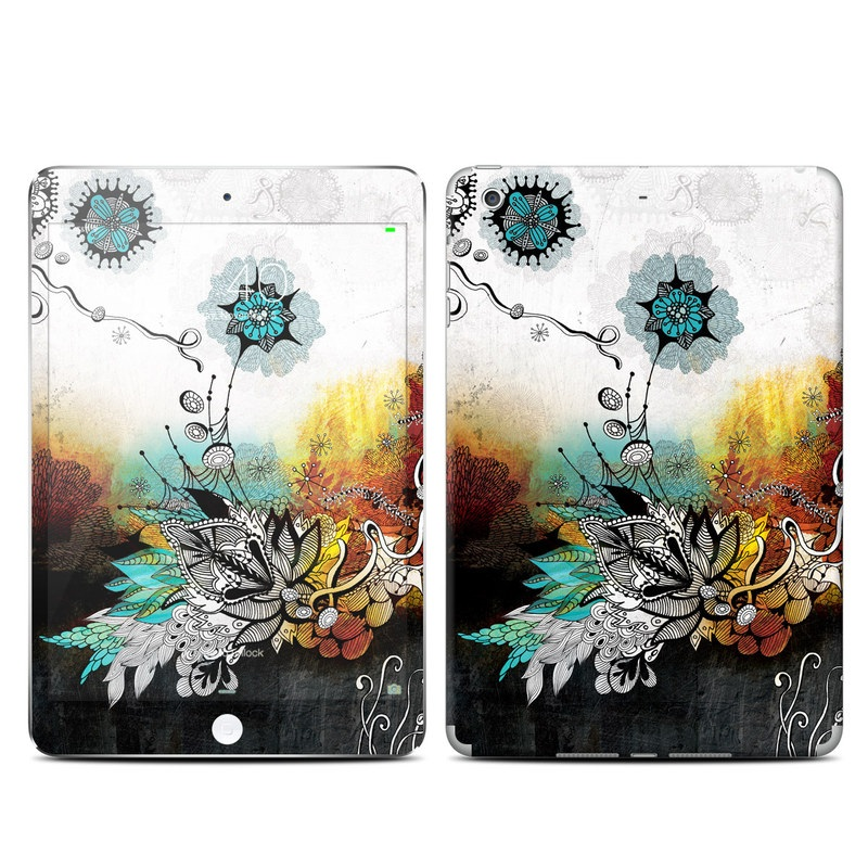 iPad mini 3 Skin design of Graphic design, Illustration, Art, Design, Visual arts, Floral design, Font, Graphics, Modern art, Painting with black, gray, red, green, blue colors