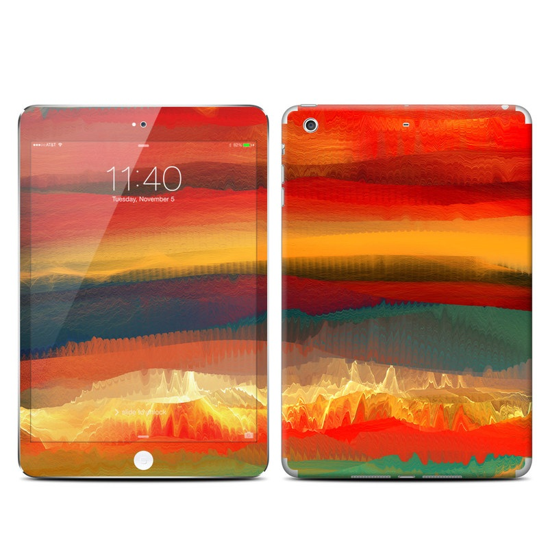 iPad mini 3 Skin design of Sky, Red, Horizon, Afterglow, Orange, Painting, Acrylic paint, Watercolor paint, Sunset, Geological phenomenon with red, blue, green, yellow, orange, white colors