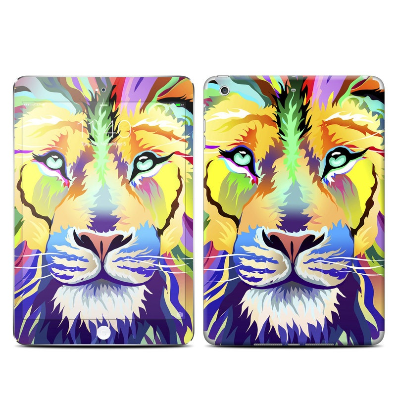 iPad mini 3 Skin design of Bengal tiger, Felidae, Lion, Wildlife, Big cats, Tiger, Carnivore, Art, Illustration, Painting with orange, yellow, green, red, pink, blue, purple colors