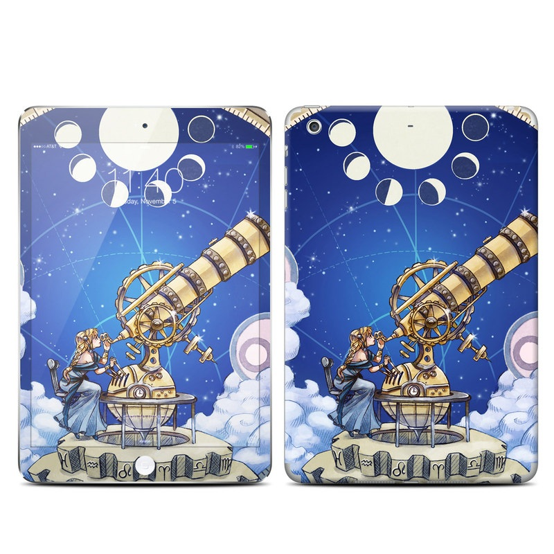 iPad mini 3 Skin design of Circle, World, Space, Vehicle, Satellite, Illustration with white, blue, yellow, pink, gray colors