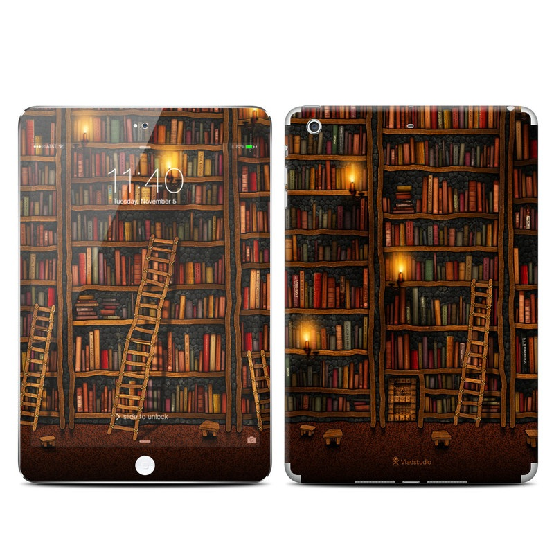 iPad mini 3 Skin design of Shelving, Library, Bookcase, Shelf, Furniture, Book, Building, Publication, Room, Darkness with black, red colors