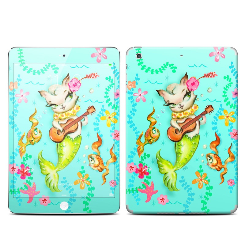 iPad mini 3 Skin design of Fictional character, Illustration, Mermaid, Mythical creature, Clip art, Art with blue, green, pink, yellow, orange, white, gray, brown colors