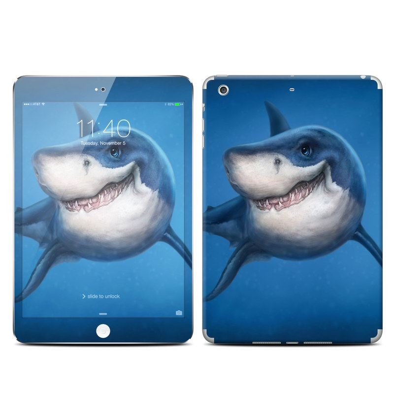 iPad mini 3 Skin design of Fish, Great white shark, Shark, Tiger shark, Cartilaginous fish, Requiem shark, Lamniformes, Bull shark, Carcharhiniformes with black, blue, gray colors