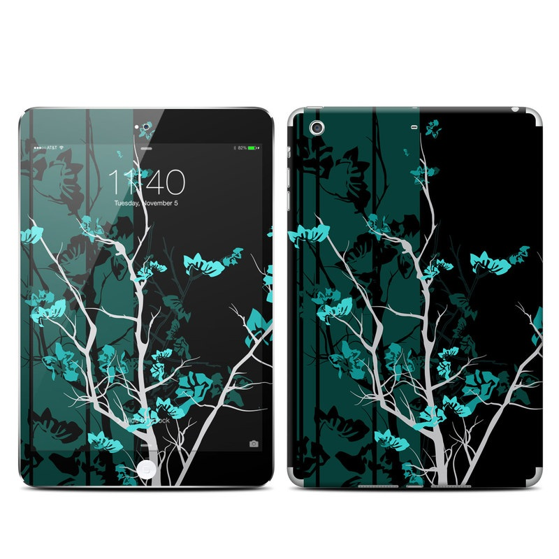 iPad mini 3 Skin design of Branch, Black, Blue, Green, Turquoise, Teal, Tree, Plant, Graphic design, Twig with black, blue, gray colors