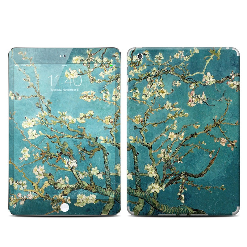 iPad mini 3 Skin design of Tree, Branch, Plant, Flower, Blossom, Spring, Woody plant, Perennial plant with blue, black, gray, green colors