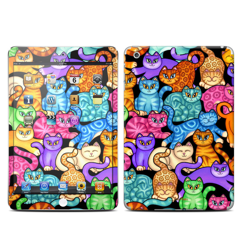 iPad mini 2 Skin design of Cat, Cartoon, Felidae, Organism, Small to medium-sized cats, Illustration, Animated cartoon, Wildlife, Kitten, Art with black, blue, red, purple, green, brown colors