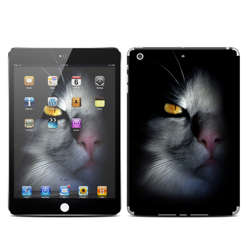iPad mini 2 Skin design of Cat, Whiskers, Small to medium-sized cats, Felidae, Black, Nose, Darkness, Snout, Eye, Carnivore with black, gray colors