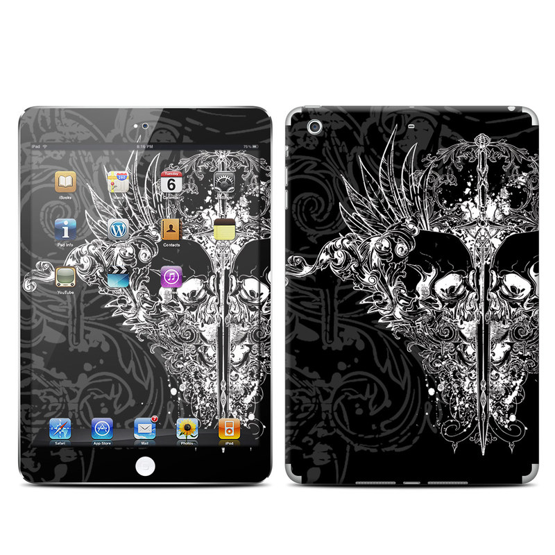 iPad mini 2 Skin design of Illustration, Art, Design, Monochrome, Graphic design, Pattern, Fictional character, Skull, Black-and-white, Graphics with black, gray colors