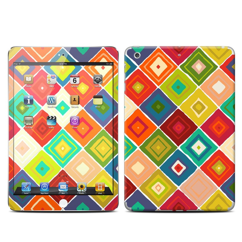 iPad mini 2 Skin design of Pattern, Orange, Line, Textile, Design, Visual arts, Symmetry, Wrapping paper, Square with red, green, gray, blue, pink colors