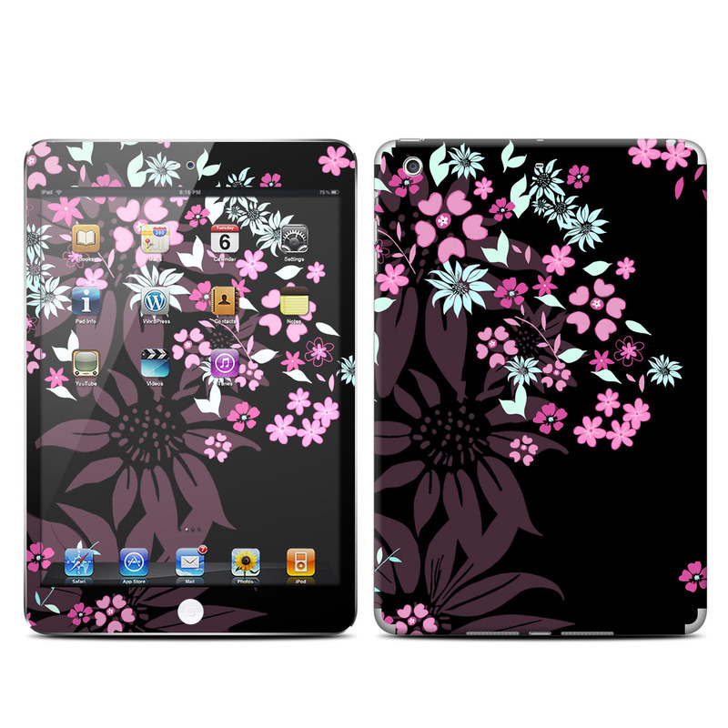 iPad mini 2 Skin design of Pink, Pattern, Flower, Plant, Botany, Petal, Floral design, Design, Pedicel, Graphic design with black, gray, purple, green, red, pink colors