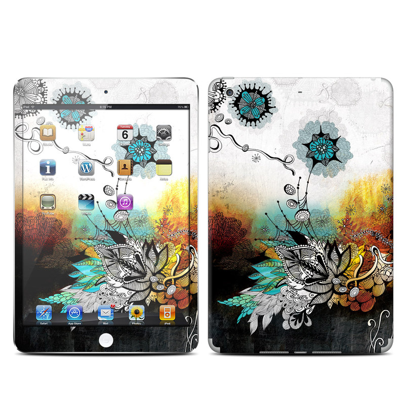 iPad mini 2 Skin design of Graphic design, Illustration, Art, Design, Visual arts, Floral design, Font, Graphics, Modern art, Painting with black, gray, red, green, blue colors