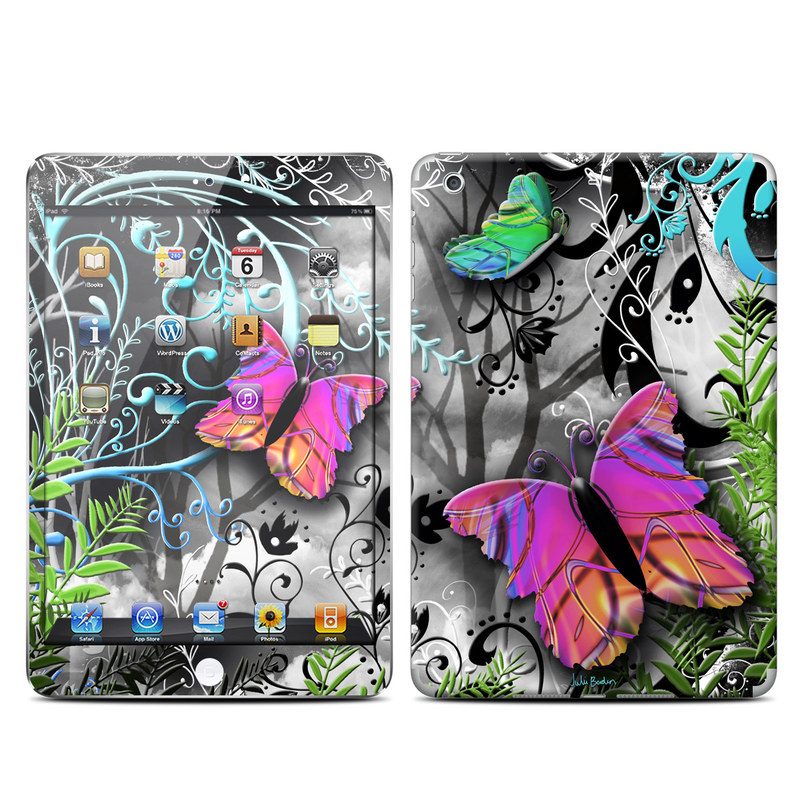iPad mini 2 Skin design of Butterfly, Pink, Purple, Violet, Organism, Spring, Moths and butterflies, Botany, Plant, Leaf with black, gray, green, purple, red colors