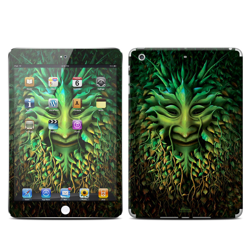iPad mini 2 Skin design of Green, Organism, Art, Illustration, Leaf, Poster, Wildlife, Adaptation, Visual arts, Graphic design with black, green colors