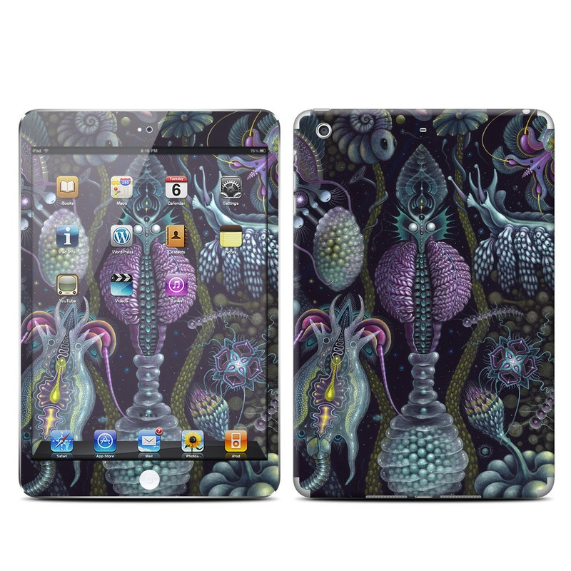 iPad mini 2 Skin design of Organism, Pattern, Art, Illustration, Fractal art, Psychedelic art, Design, Visual arts, Plant, Modern art with black, green, purple, pink, yellow, blue colors