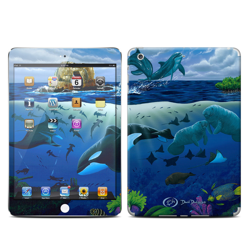 iPad mini 2 Skin design of Marine biology, Underwater, Ocean, Marine mammal, Dolphin, Sea, World, Cetacea with black, blue, gray colors