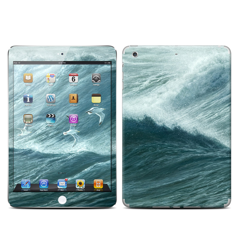 iPad mini 2 Skin design of Wave, Wind wave, Tide, Sea, Ocean, Water, Sky, Wind, Tsunami, Surfing with blue, white colors