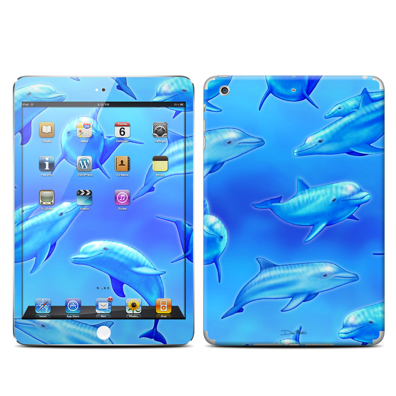iPad mini 2 Skin design of Fin, Marine biology, Fish, Cobalt blue, Blue, Underwater, Marine mammal, Dolphin, Electric blue with blue colors