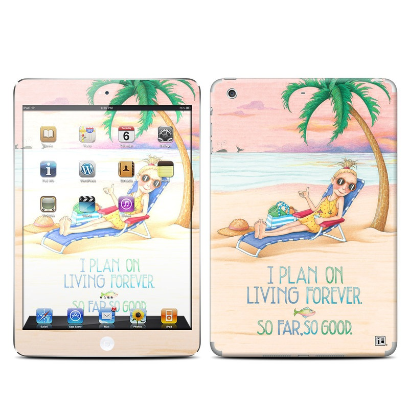 iPad mini 2 Skin design of Vacation, Product, Summer, Aqua, Illustration, Sun tanning, Fictional character, Caribbean, Graphics, Happy with pink, green, brown, yellow, blue, white, red colors