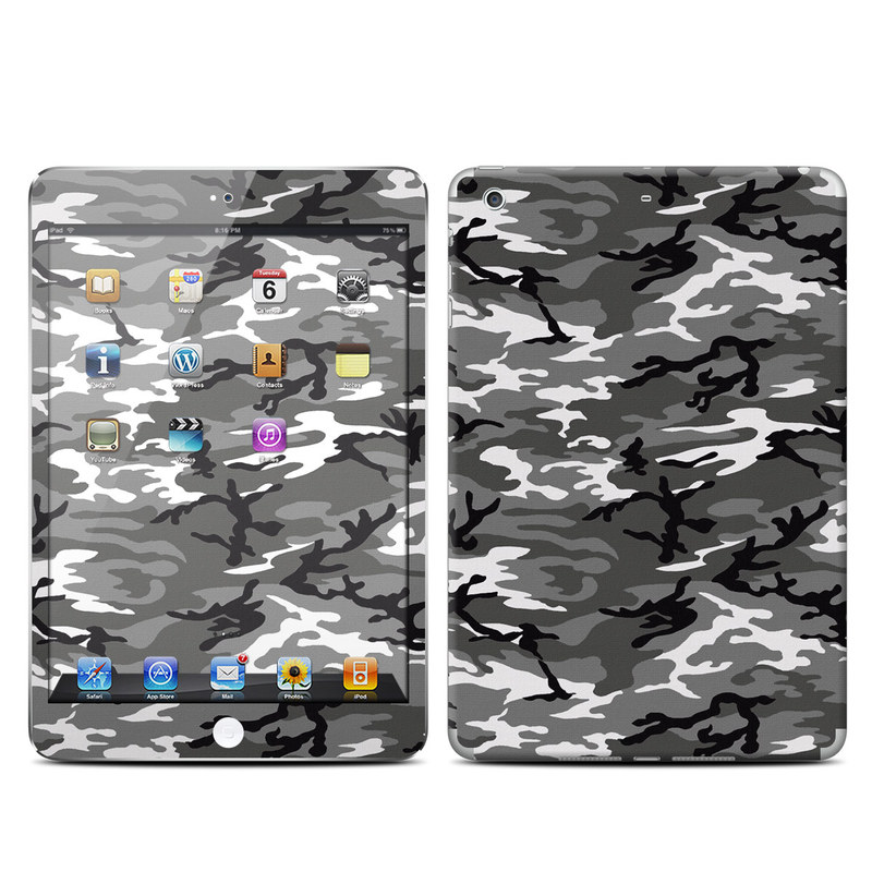 iPad mini 2 Skin design of Military camouflage, Pattern, Clothing, Camouflage, Uniform, Design, Textile with black, gray colors