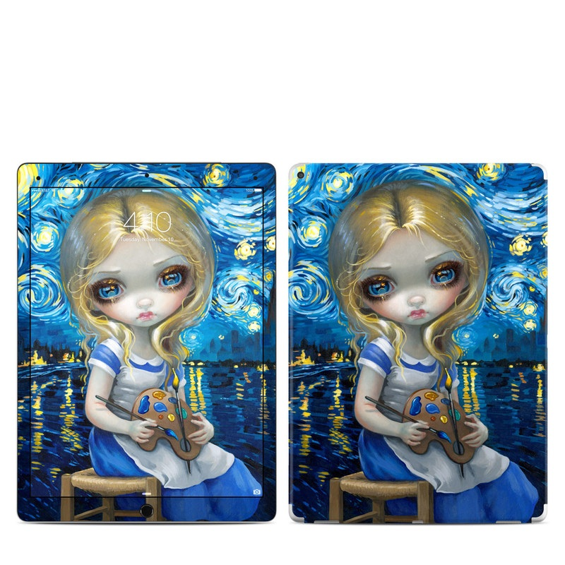 iPad Pro 12.9-inch 1st Gen Skin design of Blue, Illustration, Cg artwork, Doll, Art, Acrylic paint, Painting, Toy, Fictional character, Visual arts with blue, yellow, white, brown, red colors