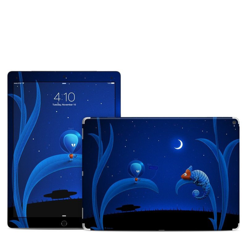 iPad Pro 12.9-inch 1st Gen Skin design of Organism, Astronomical object, Space, Illustration, Night, Graphics with black, blue, orange colors