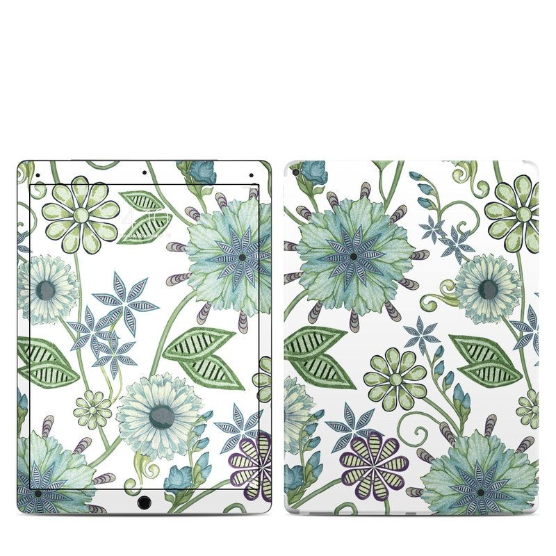 iPad Pro 12.9-inch 1st Gen Skin design of Green, Pattern, Flower, Botany, Plant, Leaf, Design, Wildflower with white, green, blue colors